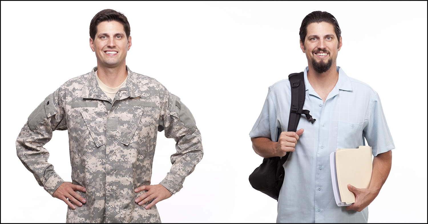 Portrait of a soldier and a young man with backpack and document