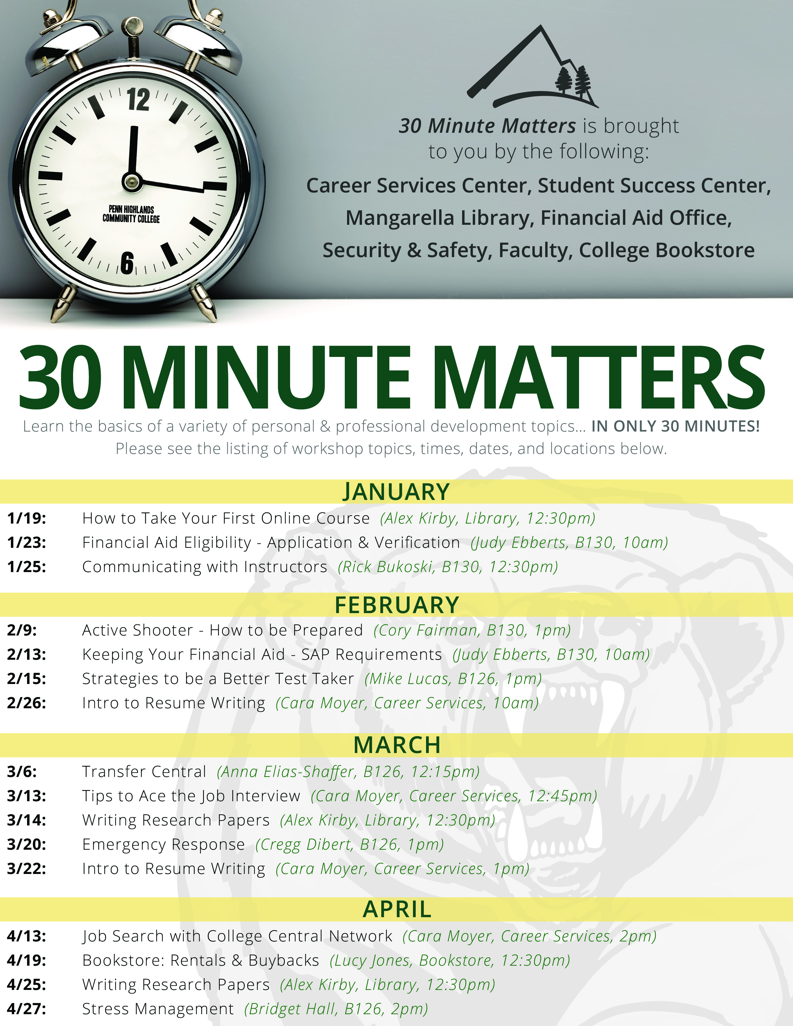 30 Minute Matters Spring 2018 Flyer